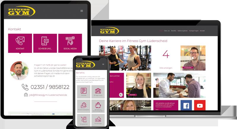 Die Karriere-Homepage vom Fitness Gym auf verschiedenen Geräten.
