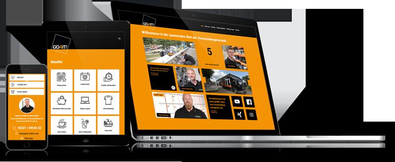Die Karriere-Homepage von der Firma GO4IT auf verschiedenen Geräten.