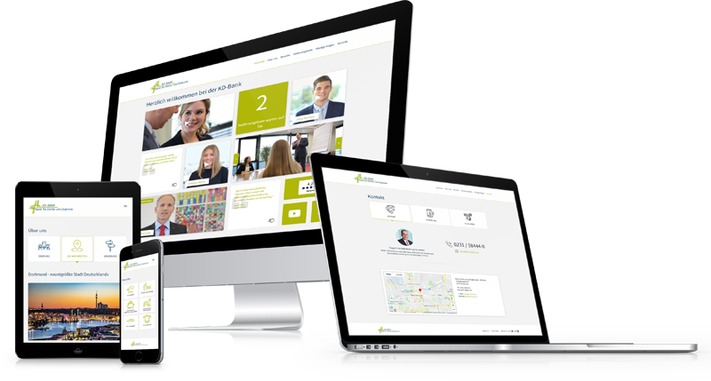 Die Karriere-Homepage von der KD-Bank auf verschiedenen Geräten.