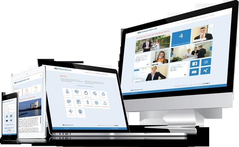 Die Karriere-Homepage von der VR-Bank Bonn eG auf verschiedenen Geräten.