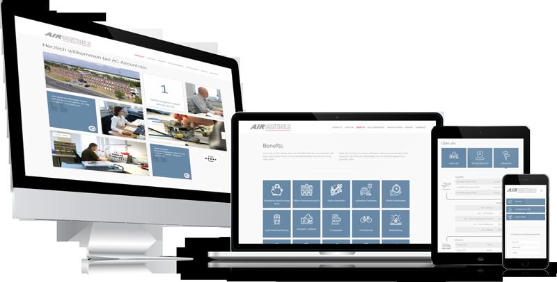 Die Karriere-Homepage von der Firma AIRCONTROLS auf verschiedenen Geräten.
