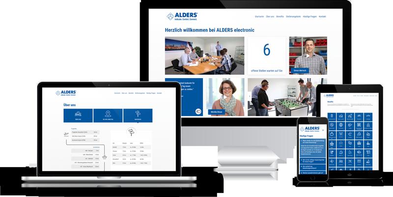 Die Karriere-Homepage von der Firma ALDERS auf verschiedenen Geräten.