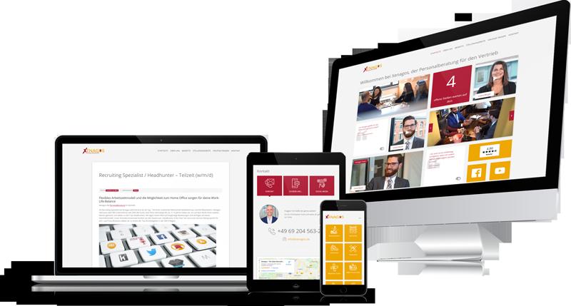 Die Karriere-Homepage von der Firma Xenagos auf verschiedenen Geräten.