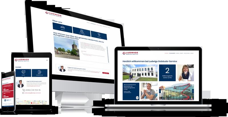 Die Karriere-Homepage von Ludwigs-Gebäudeservice auf verschiedenen Geräten.